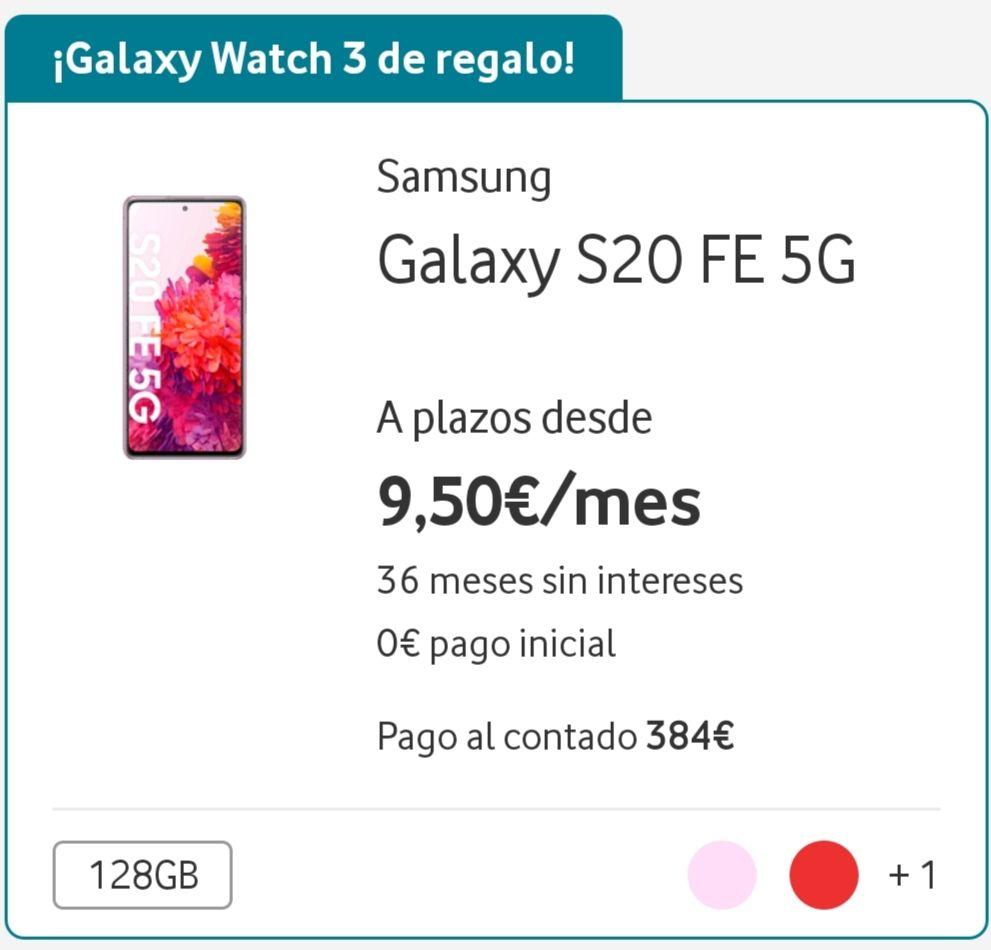 Galaxy s20 FE 5G + reloj galaxy watch 3 (18 meses de permanencia)