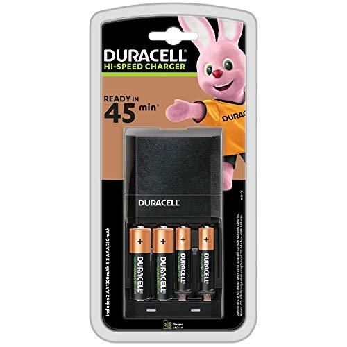 Duracell - Cargador de pilas en 45 minutos, Viene con 2 pilas recargables tipo AA y 2 tipo AAA