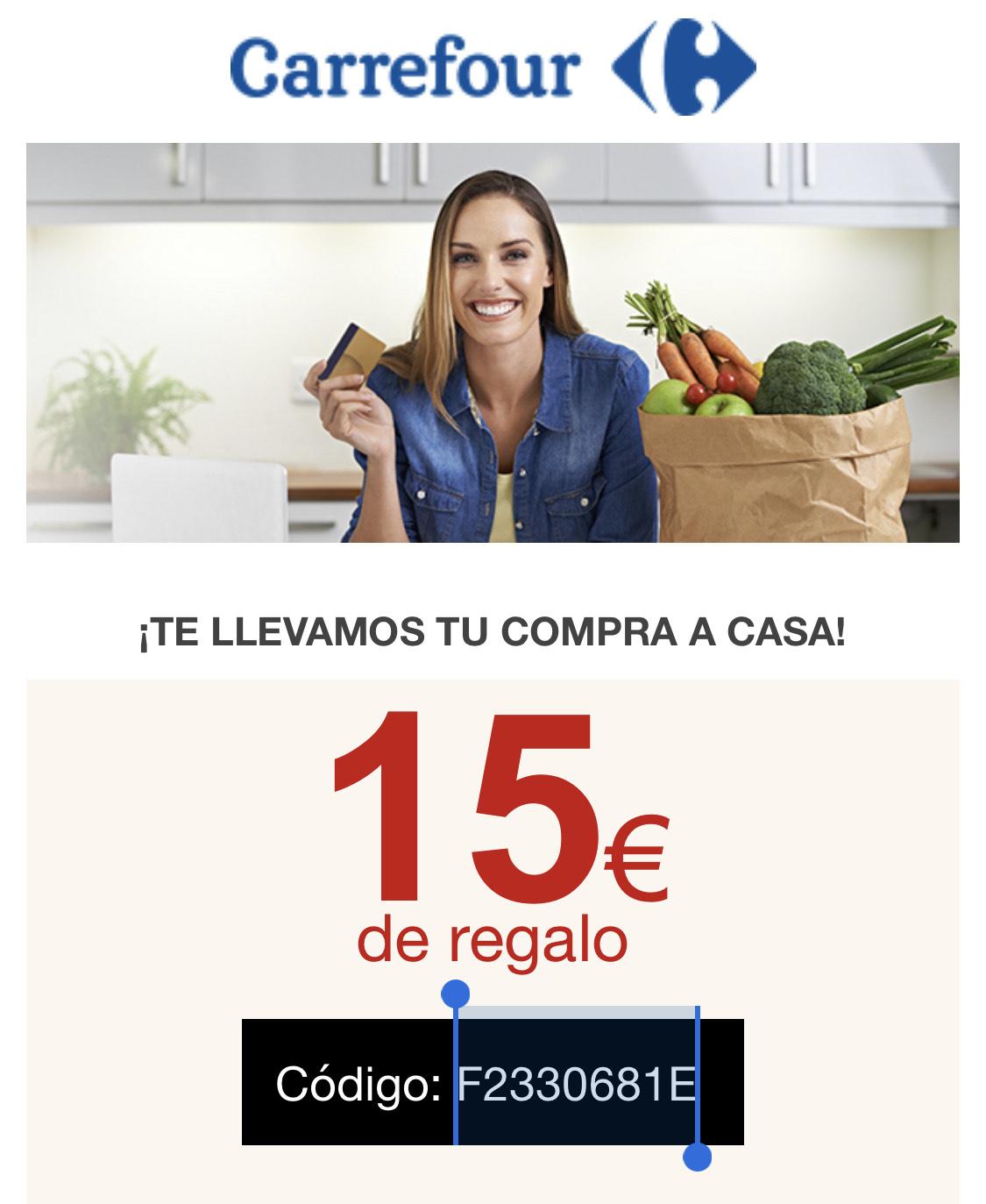 15€ de descuento gastando 100€ (Compra online)