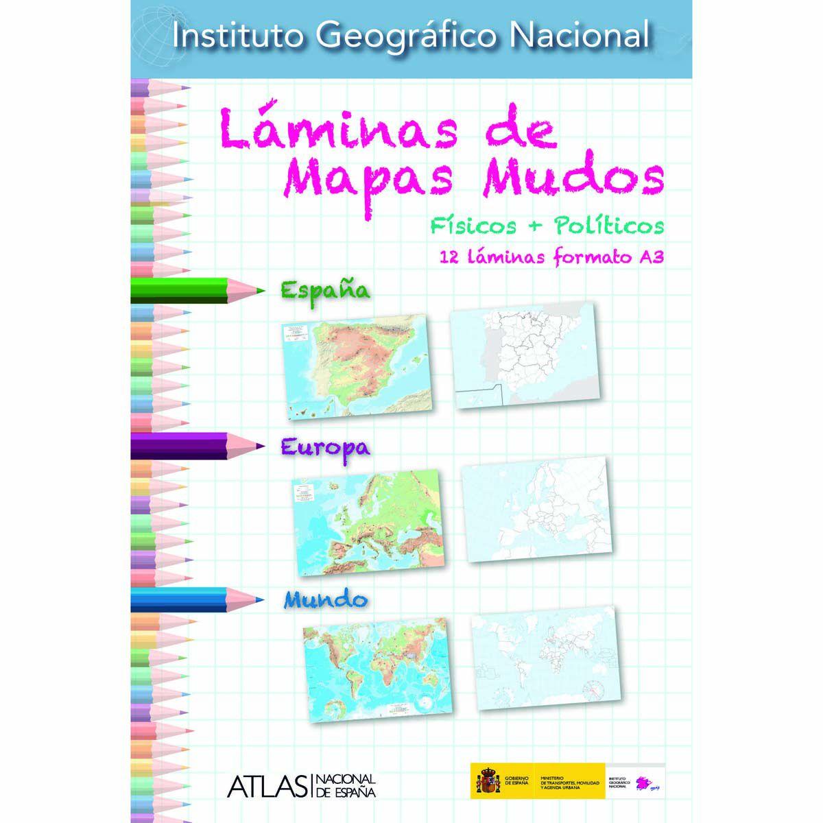 Láminas de Mapas Mudos (físicos + políticos) 12 láminas formato A3