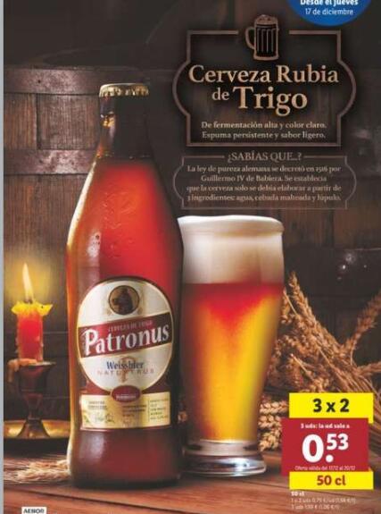 3x2 en cerveza Patronus(cerveza rubia de trigo) (Lidl)