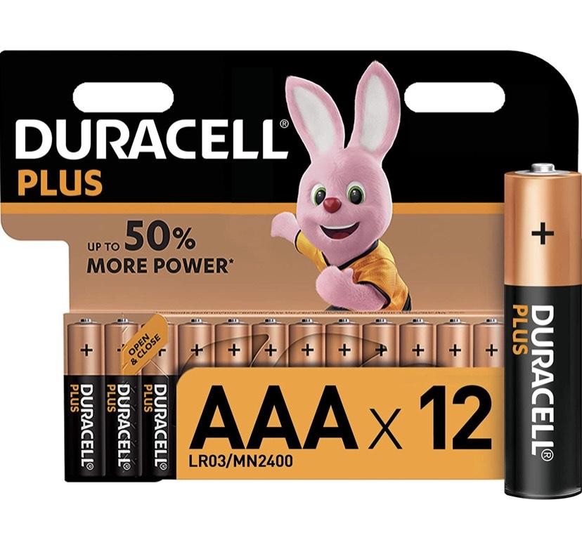 Duracell Plus AAA - Pilas Alcalinas Paquete de 12, 1.5 Voltios LR03 MN2400