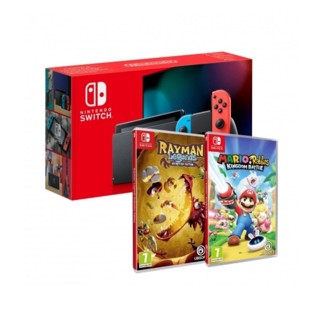 Nintendo Switch Rojo/Azul Neon con Mario Rabbids y Rayman Legends