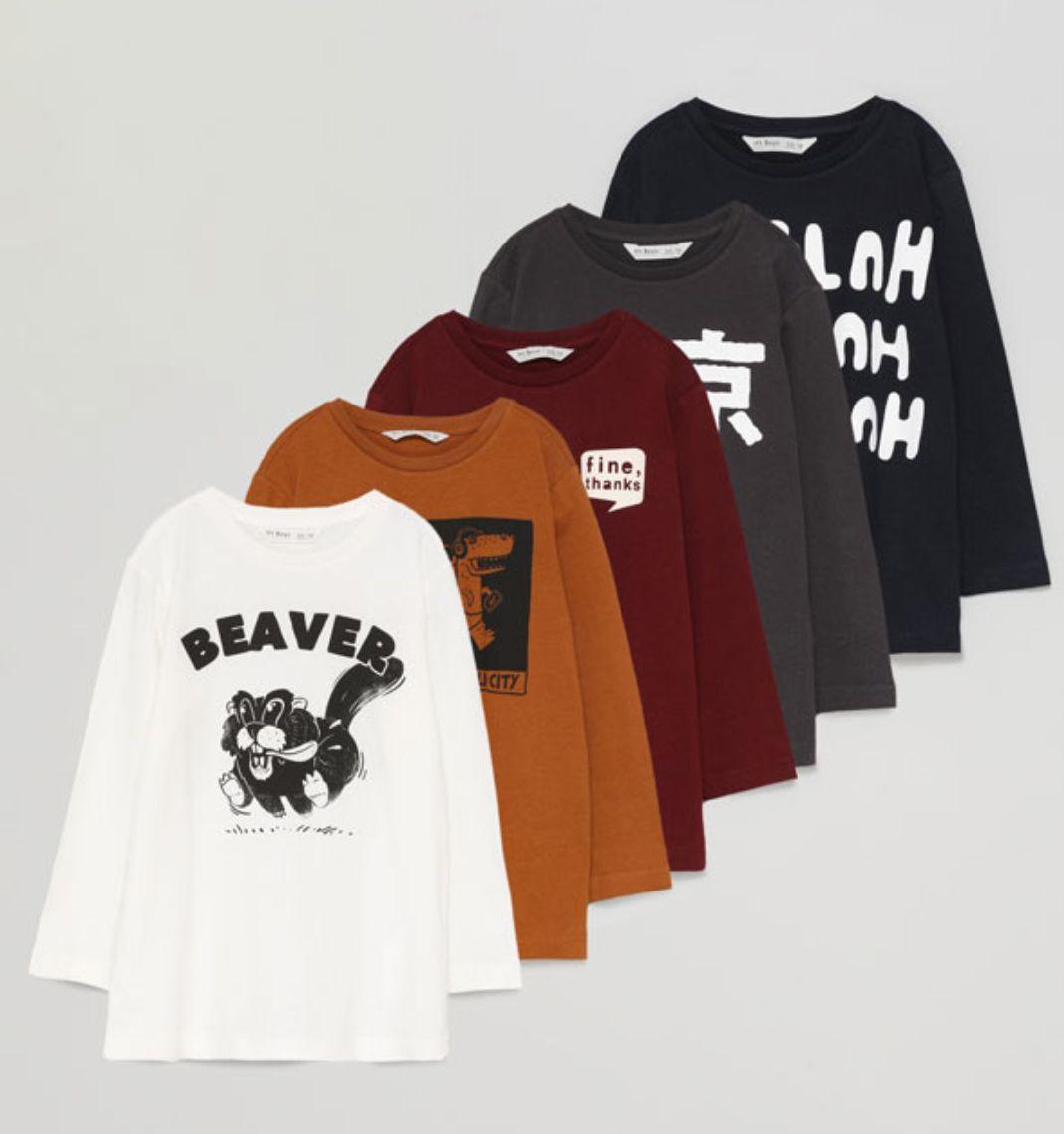 Pack 5 camisetas manga larga infantil. Todas las tallas. Envío gratis a tienda