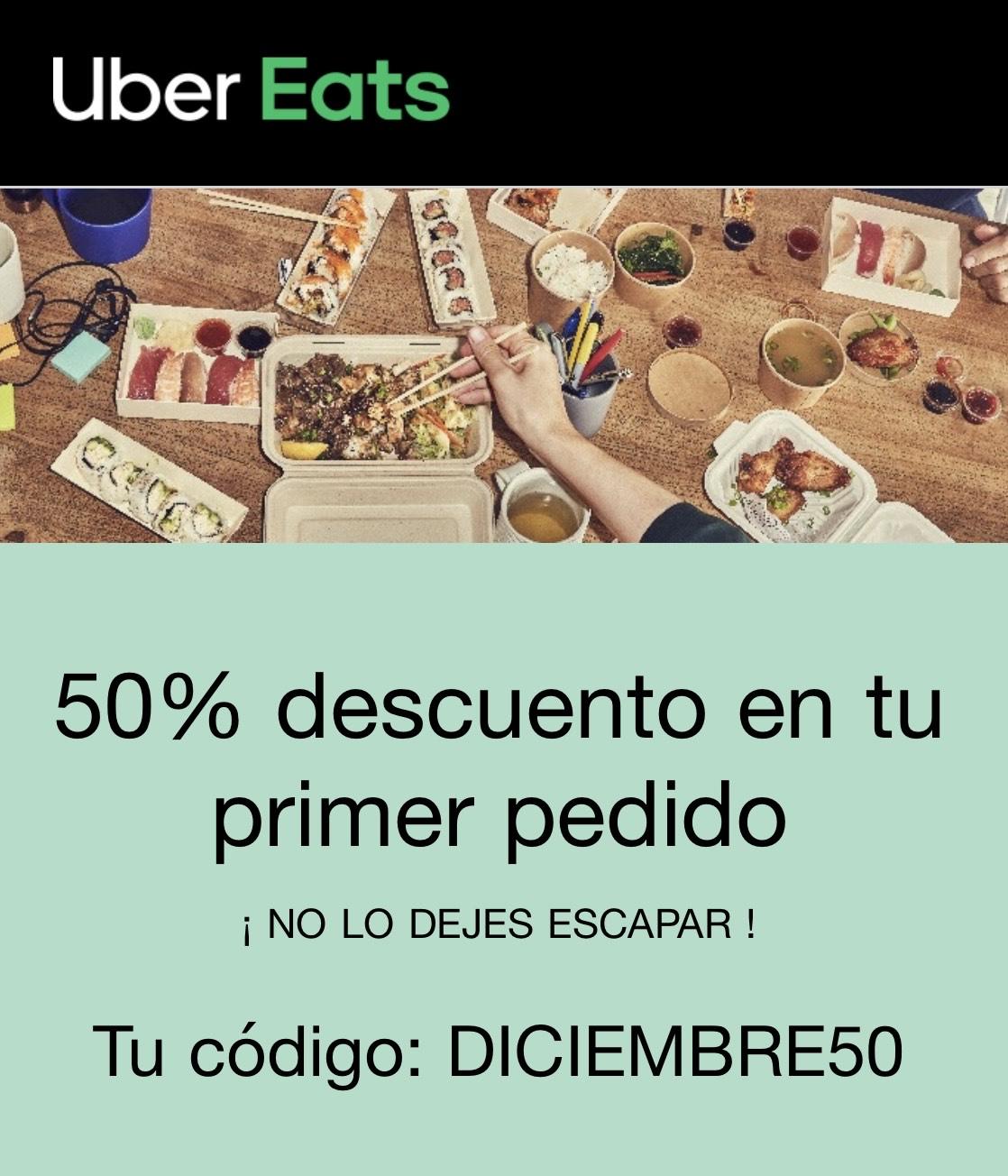 50% de descuento en primer pedido en uber eats