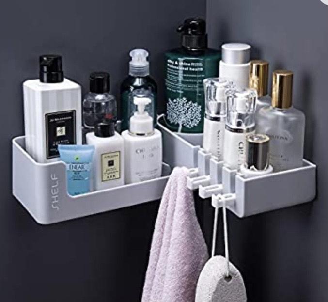 - Estantería de esquina giratoria de 180 grados adhesiva, estantería de ducha con 4 ganchos
