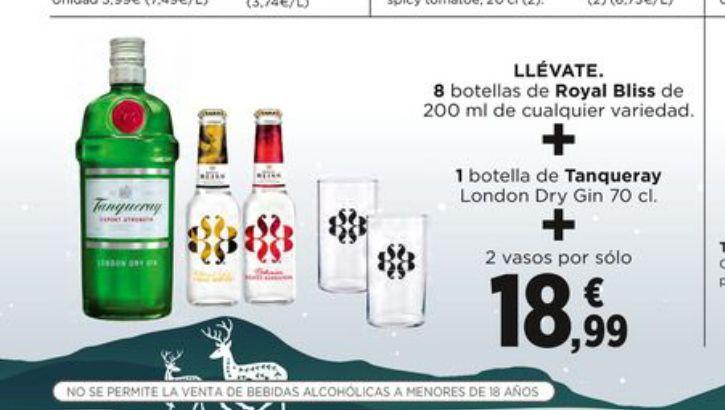 Lleva 1 botella de ginebra Tanqueray de 70 cl + 8 botellas de tónica Royal Bliss de 20 cl + 2 vasos por sólo 18,99 €