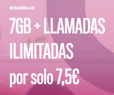 7GB + Llamadas ilimitadas por solo 7,5€