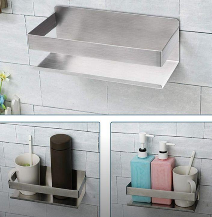 Estante de ducha autoadhesivo, sin agujeros, acero inoxidable (Precio Mínimo)