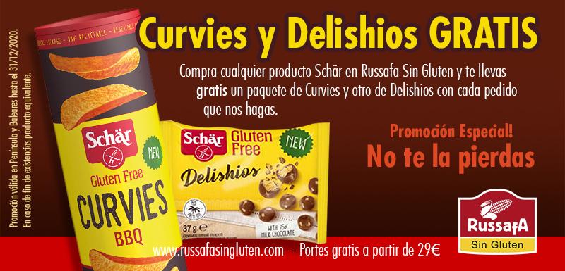 Con tu pedido te regalan un paquete de Delishios y unas Patatas Curvies sin gluten en Dr Schar