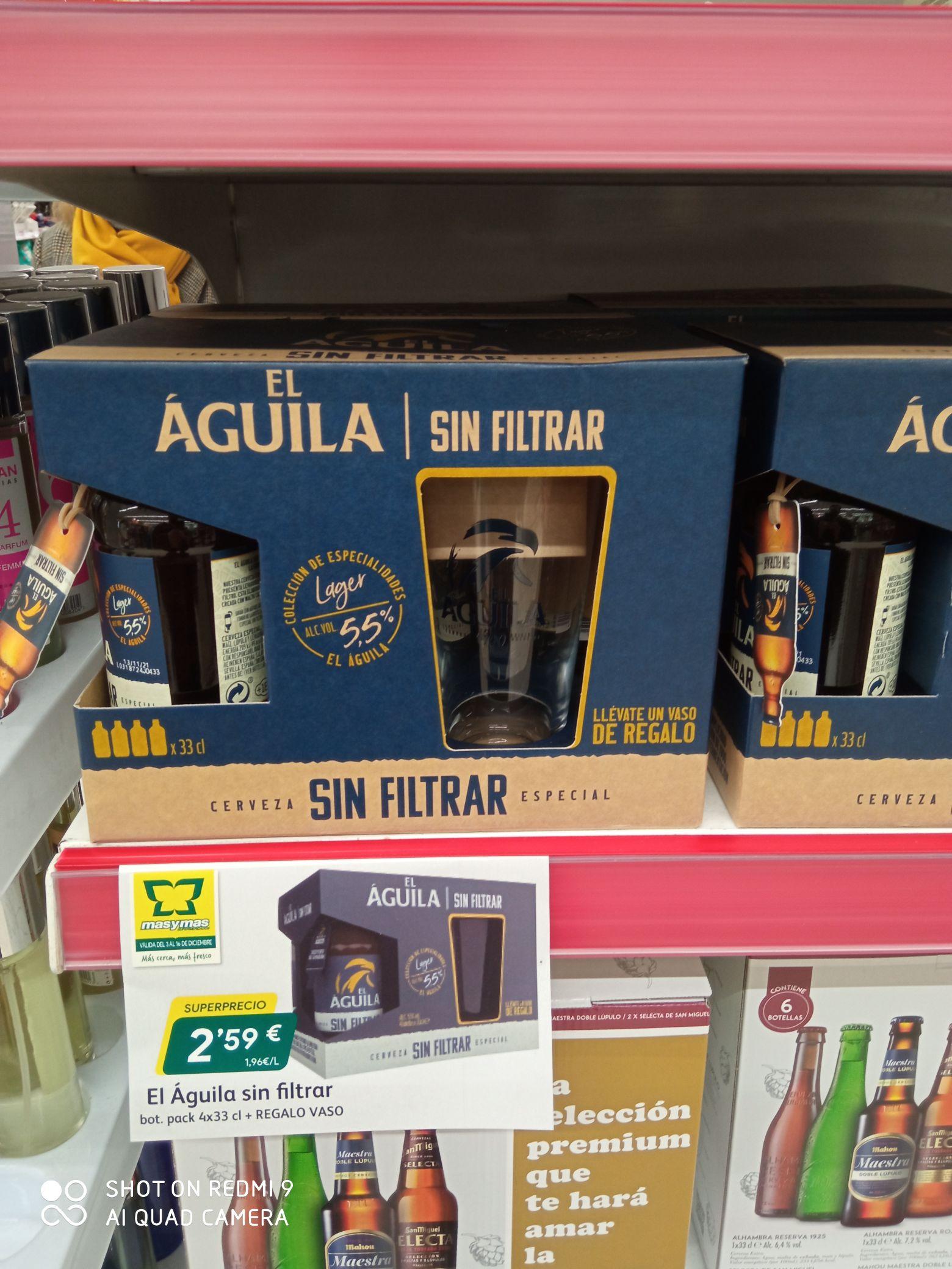 Cerveza El Águila sin filtrar, pack de 4 + vaso de regalo. Supermercados Más y Más.