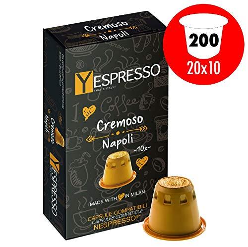 Cápsulas de café Yespresso compatibles con máquinas Nespresso, Cremoso Napoli - 200 Capsulas