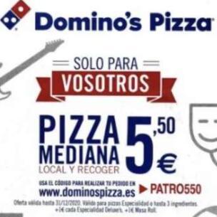Pizzas Medianas a recoger 5,5€ - Dominos Pizza