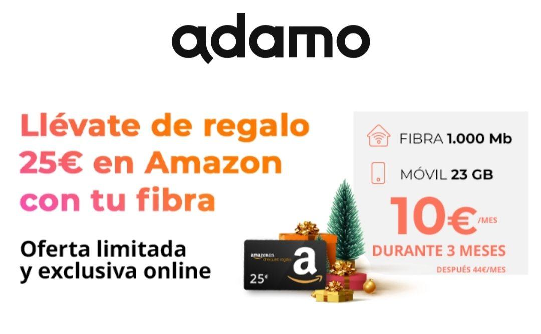 Fibra y móvil Adamo descuento y cheque Amazon