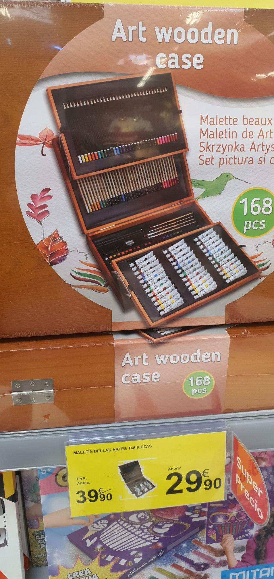 Maletín de madera set de pintura con 168 piezas en Carrefour de Carretera Utrera