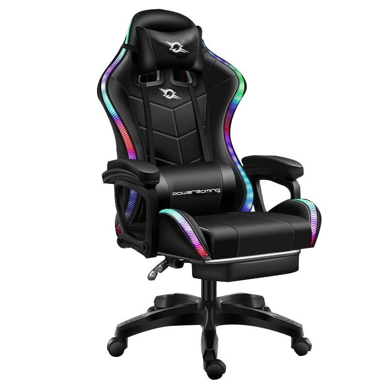 Silla Gaming 813 LED RGB Negro con Reposapiés