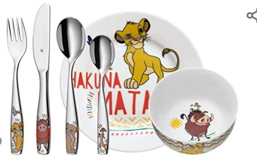 WMF Disney El Rey León o Unicornio - Vajilla para niños 6 piezas, incluye plato, cuenco y cubertería