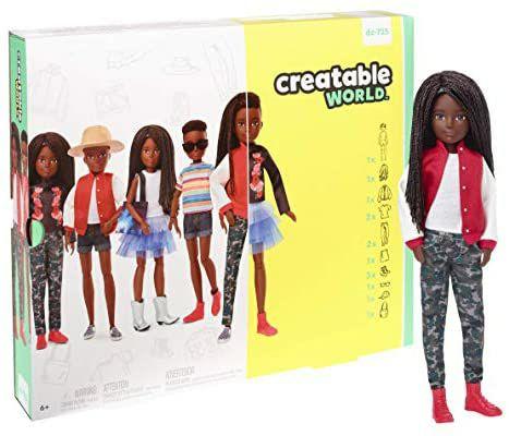 Creatable World Figura Unisex, muñeco articulado, pelucas con rizos y trenzas y accesorios