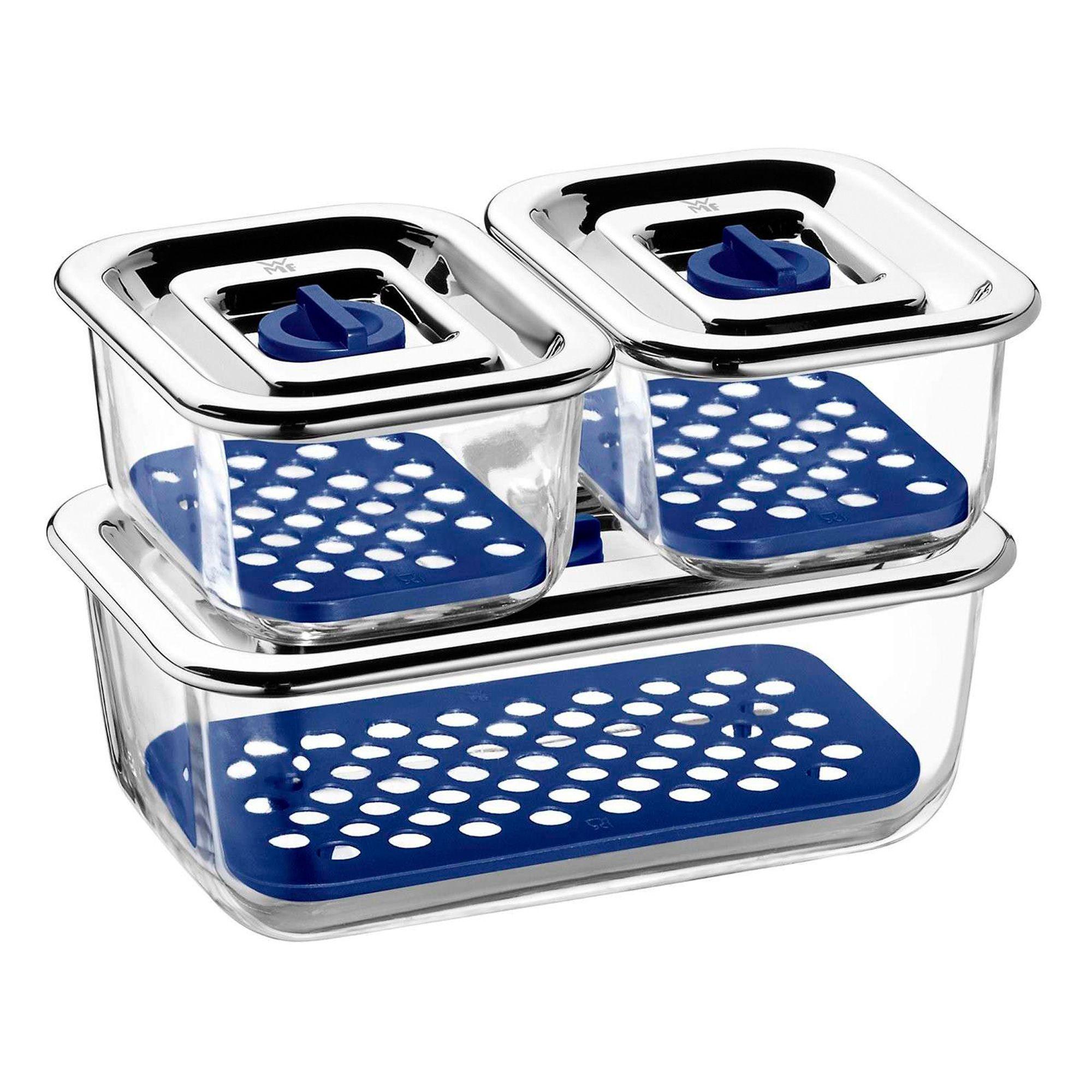 WMF Set De 3 Recipientes Top Serve Azul, Transparente Y Plateado 0,4 L (X) + 1,20 L (1)