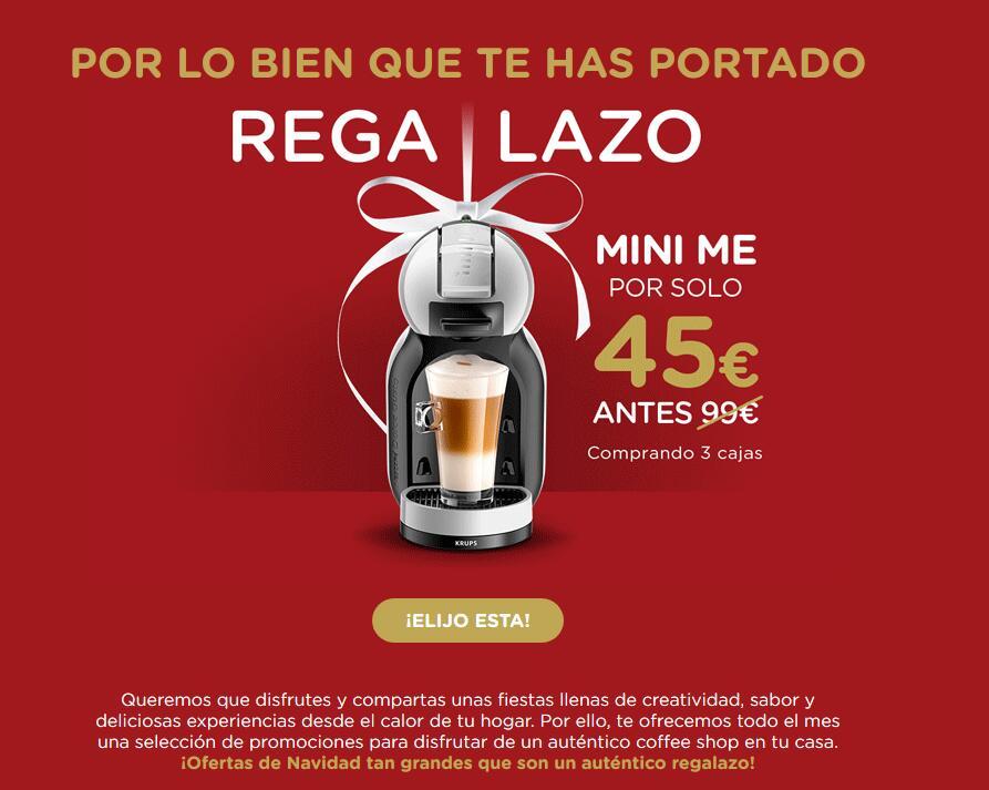 Cafetera automática Dolce Gusto Mini Me a 60 euros (cafetera + 3 cajas de cápsulas)