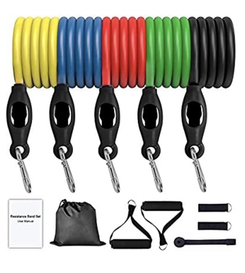 -Juego de Bandas de Resistencia (11 Piezas) con 5 Tubos de Fitness, Unisex, Amarillo/Verde/Rojo/Azul/Negro, 10 lbs/15lbs/20lbs/25lbs/30lbs