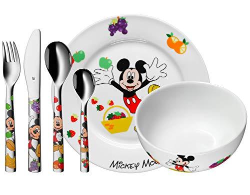 WMF Disney Mickey Mouse - Vajilla para niños 6 piezas, incluye plato, cuenco y cubertería