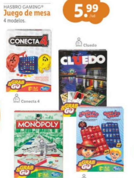 Colección de juegos hasbro. Tienda Lidl.