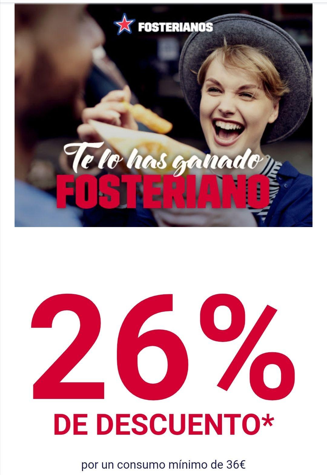 26% descuento en Foster Hollywood para Fosterianos (seleccionados en email o app. Min. 36 euros)