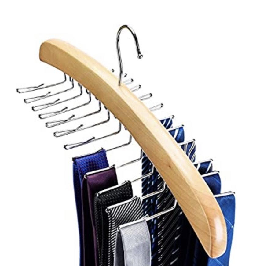 Percha Corbatero 24 Corbatas de Madera con Ganchos de Metal Organizador