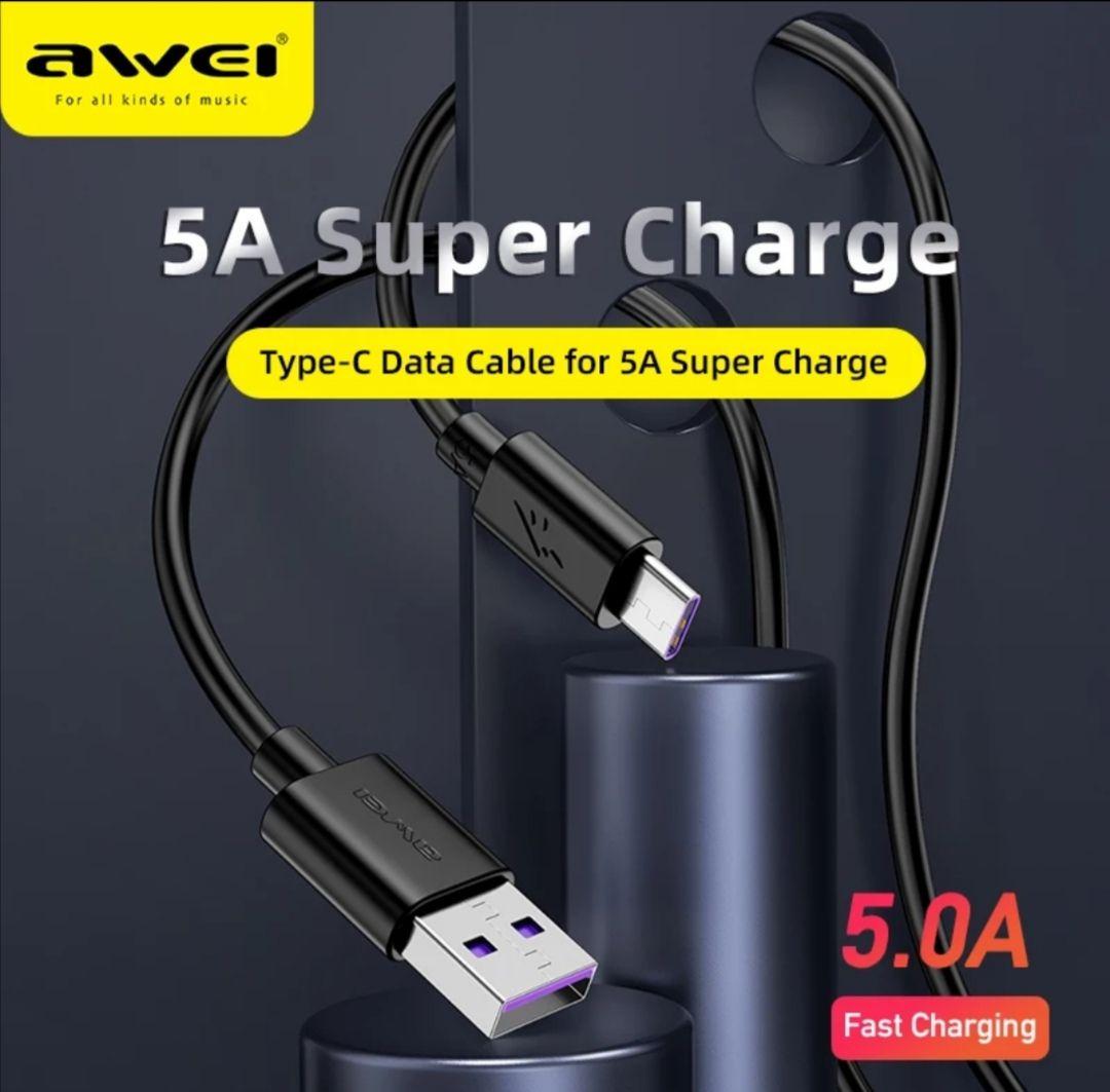 AWEI CL-110T 5A tipo-C USB Cables de datos Durable 1m de carga rápida