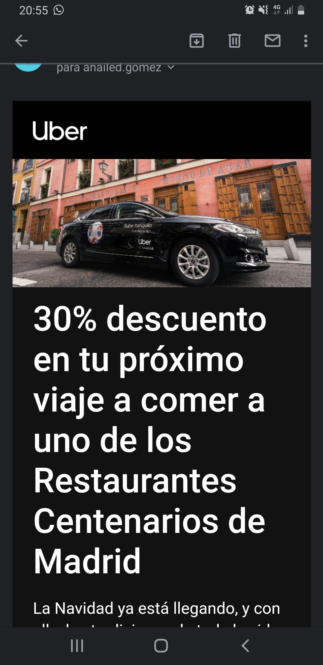 UBER eats 30% de descuento en Restaurantes Centenarios de Madrid