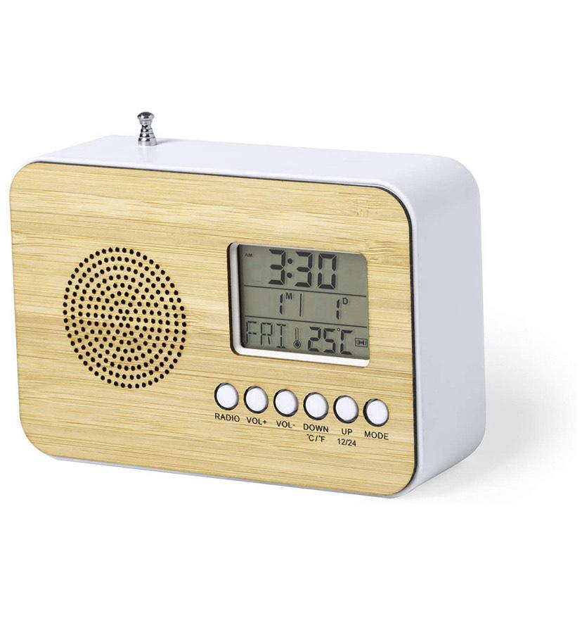 Radio FM despertador - termometro - calendario con diseño en madera