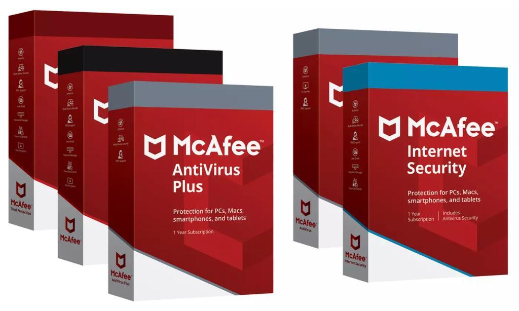 1 año de McAfee Antivirus, Internet Security, Total Protection o Live Safe 2020 para hasta 5 dispositivos