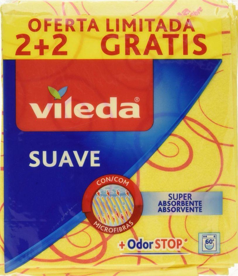 Vileda Suave Bayetas con 30% Microfibras - 4 Unidades (Precio al tramitar y C.Recurrente )
