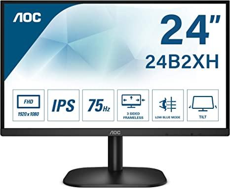 "Monitor AOC 24B2XH de 24"" LED Full HD (1920x1080) IPS, 75 Hz sin parpadeos, tecnología LowBlue, VESA"