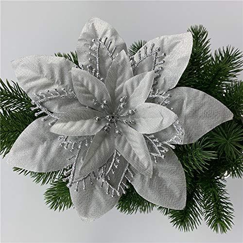 ACDE 10 Piezas 13cm Decoraciones de Flores Navideñas Artificiales con Clips (Rojo o Plata)