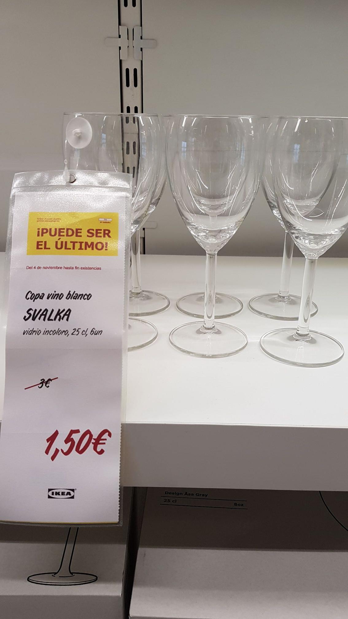 6 copas de vino blanco al 50% en ikea
