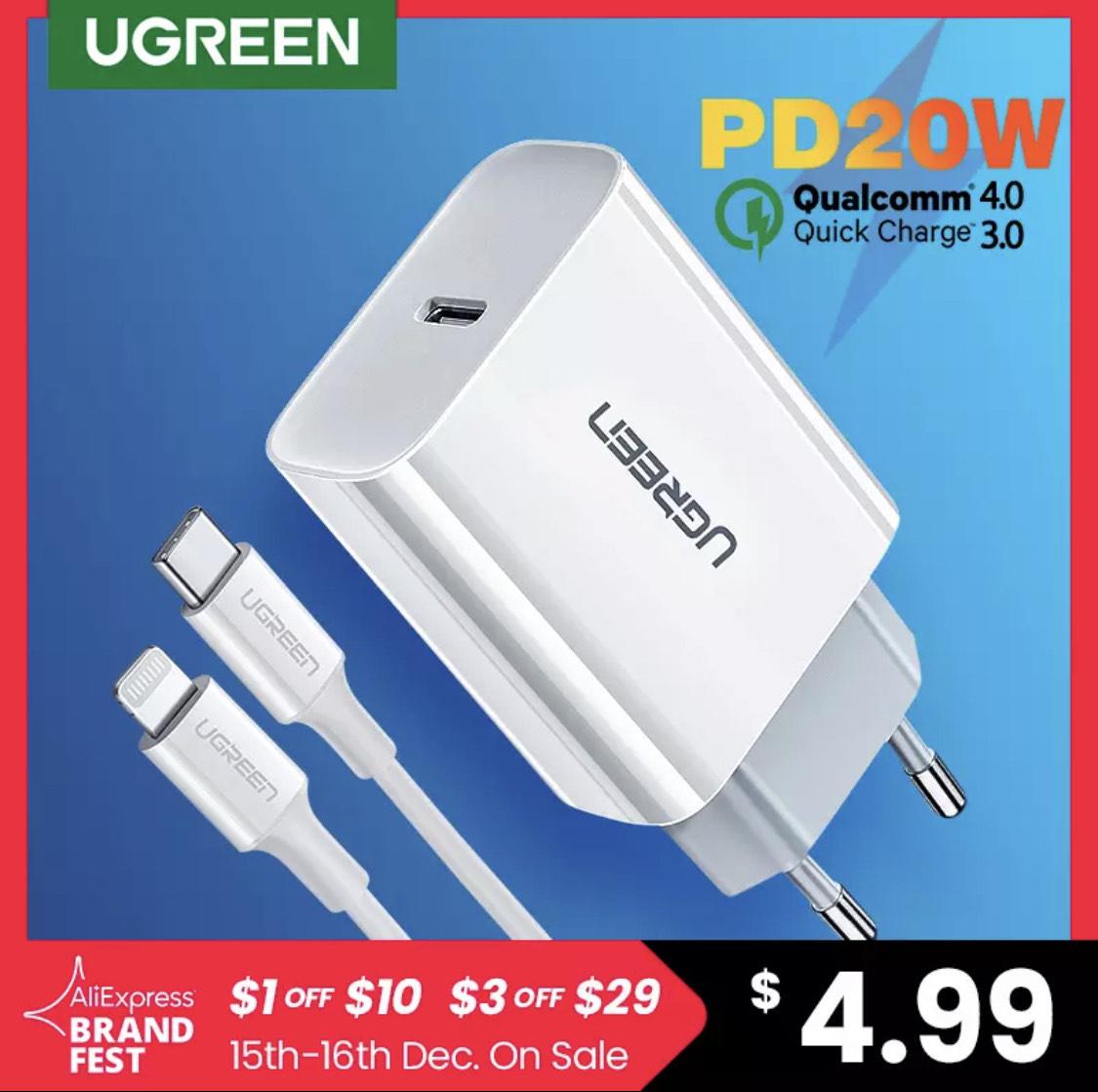 Ugreen-cargador rápido tipo C para iPhone, Cargador USB tipo C de 20W, QC4.0