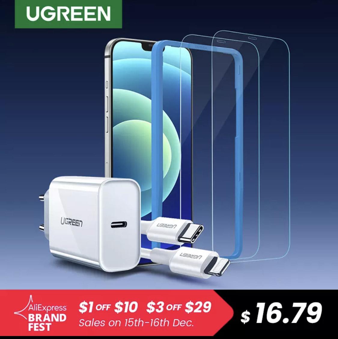 UGREEN-cargador rápido PD para iPhone MFi, Cable de carga USB C A Lightning PD, 2 unidades de cristal delantero