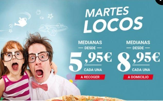 Pizzas Medianas a 5'95€ Telepizza Martes Locos