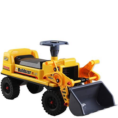 Camion Correpasillos Vehículo de Arrastre sin Pedales Tractor Bulldozer Pala Excavadora Manual con Almacenaminto Adicional y Bocina