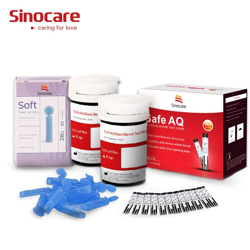 50/100 Uds. Para Safe AQ) Sinocare tiras de prueba de glucosa en sangre, agujas