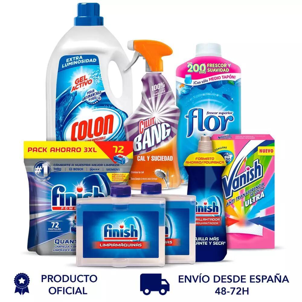 Finish Home Pack: Detergente + Suavizante + Toallitas Anti TR + Cilli Bang + Lavavajillas + Abrillantador + Limpiamáquinas Entega en 3 días