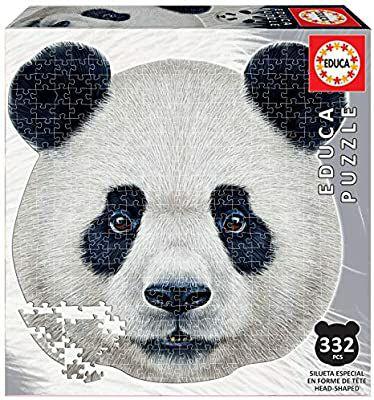 Educa Borras - Serie Animal Face Shaped, Puzzle 375 piezas, Oso panda (18476)