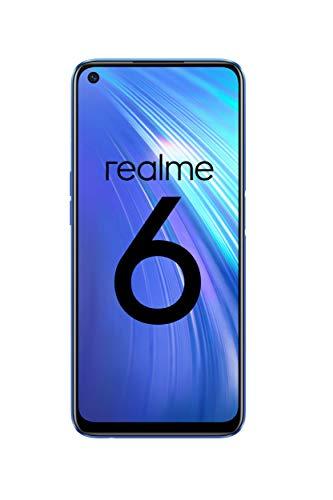 "Realme 6 Smartphone de 6.5"", 4 GB RAM + 64 GB ROM, Procesador OctaCore, Cuádruple Cámara AI 64MP, Dual Sim, Color Comet Blue"