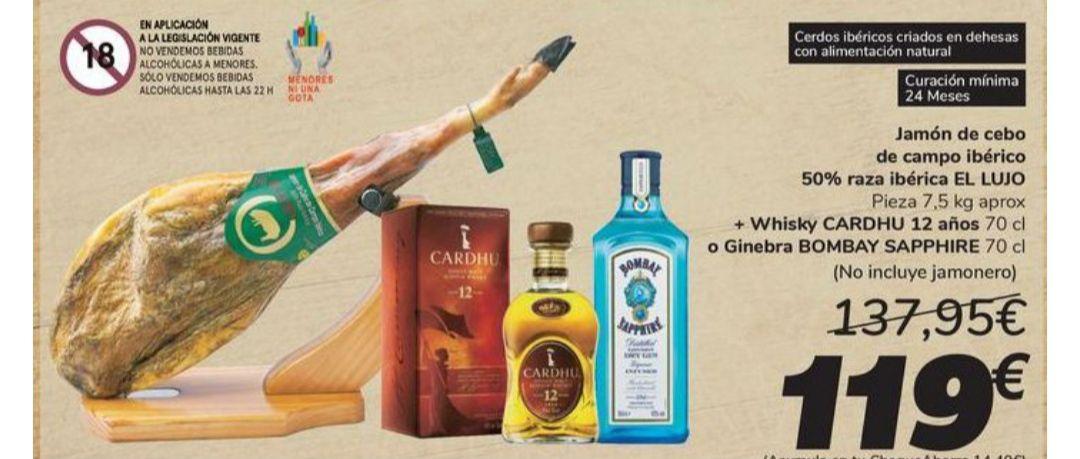 """Jamón de cebo de Campo ibérico 50%Raza """"El lujo"""" + Botella Whisky Cardhu 12 años 70cl o Bombay Shappire 70cl +14'40€ en tu Cheque Ahorro"""