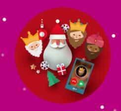 Llamada en vivo de Papá Noel o los Reyes Magos