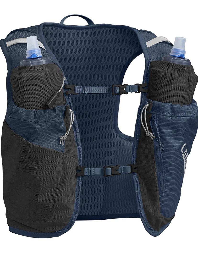 Talla S CamelBak Ultra Pro Vest Chaleco de hidratación, Unisex-Adultos, Azul Marino y Plateado