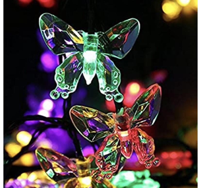 LEDMOMO 20 LEDs Guirnalda Solar Luces LED Mariposa Fairy Light Outdoor Impermeable 4,5 m (luz multicolor)