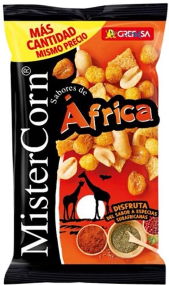 Grefusa - MisterCorn Africa | Bolsa de 195gr. Cocktail frutos secos y snacks Sabores de África